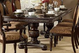 homelegance russian hill double pedestal dining table cherry