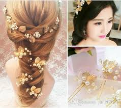 gold hair accessories 2018 bridal hair accessories gold tone pearl leaf wedding