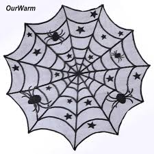 40inch spider web mantle black lace round tablecloth for halloween