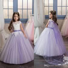 2017 pretty lace applique long kids pageant dresses for little