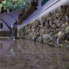 How To Make A Back Splash With Garden Stones Or River Rock Rock - Rock backsplash