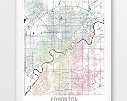 Home Decor Edmonton Edmonton City Map Etsy