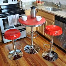 kitchen bar stool and table set amerihome retro style soda cap adjustable height red bar stool