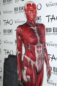 heidi klum muscles and veins costume halloween party in las