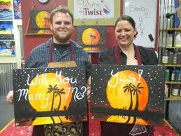 painting with a twist pensacola fl love was in the air at our studio a full house for our couple s class and a proposal in florida moon she said yes