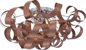 Ceiling Flush Mount by Quoizel Rbn1628sg Ribbons Contemporary Satin Copper Xenon Flush