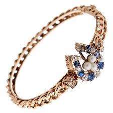 pearl bangle bracelet images Antique pearl sapphire diamond gold horseshoe bangle bracelet for jpg
