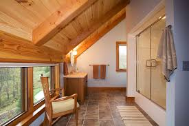 rustic contemporary bathrooms fit in with a timber frame home