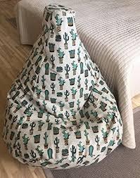 amazon com adults bean bag chair cactus print natural linen