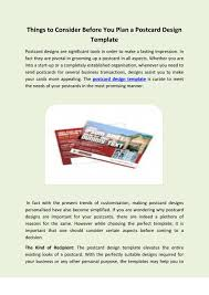 things to consider before you plan a postcard design template by