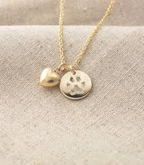 personalized paw print necklace your pet s actual paw print pendant and puffed heart charm