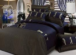 Golf Crib Bedding Noble Blue With Figure And Golf Pattern Cotton 4