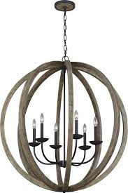 Wood Iron Chandelier Feiss F3186 6wow Af Allier Weathered Oak Wood Antique Forged