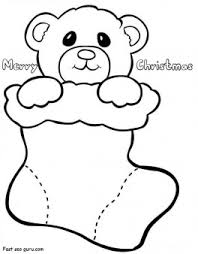 printable teddy christmas stockings coloring pages printable