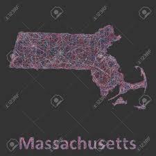Massachusetts Blank Map by Massachusetts Line Art Map Red Blue And White On Black