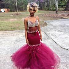mermaid prom dress beadings chain backless crystals beads