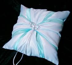 Baby Blue Cushions White Wedding Ring Bearer Pillow Tiffany Blue By Jessicasdaydream