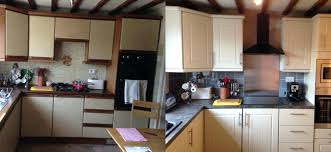 replacing kitchen cabinet doors before and after with glass reface