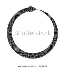 ouroboros symbol tattoo design snake bites stock vector 733167472