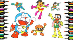 how to draw and coloring pages doraemon nursery rhymes