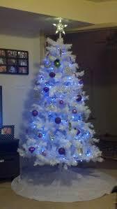 white tree with purple lights lights decoration