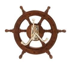 wall hooks wood ship wheel nautical decor navy sea ocean coat rack