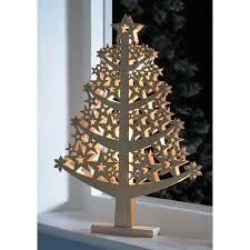pre lit star christmas tree table decoration wood 50 cm white