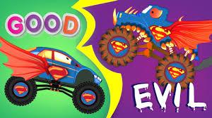 monster truck for children cartoon good vs evil superman monster truck scary monster trucks for