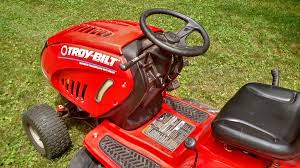 troy bilt bronco riding lawn mower with dual bagger