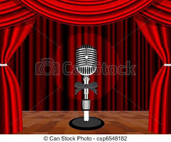 Curtains On A Stage Clip Art Of A Microphone On A Stage With A Spotlight On It A