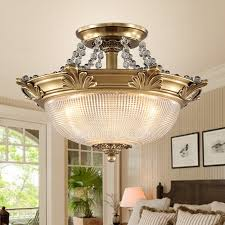 European Ceiling Lights Semi Flush Antique Brass Ceiling Light For Bedroom
