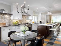 Dark Kitchen Island Interior Classic Kitchen Design With Brick Backsplash And White