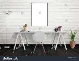 poster frame mock office interior desk stock photo 380542735