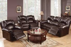 Teak Wood Furniture Sofa Set Espresso Faux Leather Reclining Sofa With High Backrest And