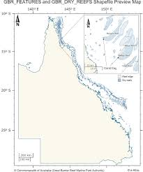 Coral Reef Map Of The World by Great Barrier Reef Gbr Features Reef Boundaries Qld Mainland