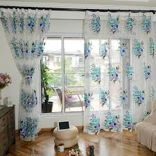 Blue Floral Curtains White Beautiful Print Blue Floral Sheer Curtains