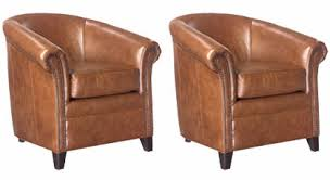 Barrel Accent Chair Of 2 Gardner Designer Style Leather Barrel Accent Chairs