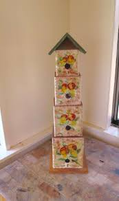 vintage 4 story birdhouse graduated wood boxes tall birdhouse