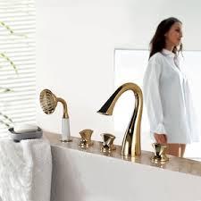 Swan Faucet Gold High End Swan Neck Cross Handle Five Set Bathtub Shower Faucet
