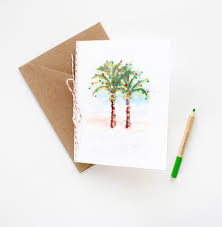 palm tree card set watercolor wedding