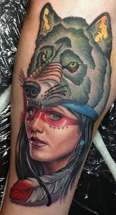 indian and wolf by steve wimmer tattoonow