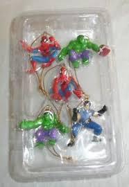 set of 5 mini ornaments marvel comics