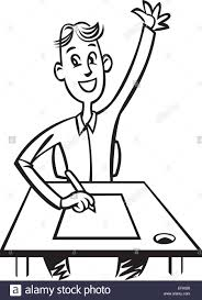 Picture Of Student Sitting At Desk by A Student Sitting At His Desk With His Hand Up Stock Vector Art