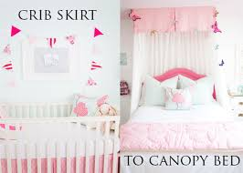 Crib Bed Skirt Measurements Crib Skirt To Canopy Bed Ruby S Diy Canopy Bed Withheart