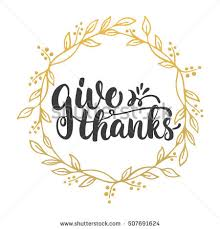 give thanks lettering calligraphy phrase leaves stock vector