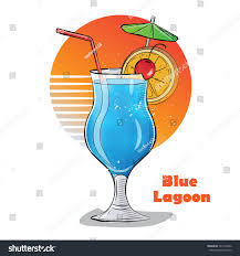 cartoon martini png hand drawn illustration cocktail blue lagoon stock vector