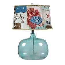 Blue Glass Table Lamp Ocean Blue Glass Table Lamp With Coastal Shade