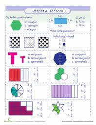 shapes and fractions worksheet education com