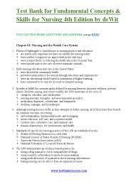 test bank for fundamental concepts u0026 skills for nursing 4th