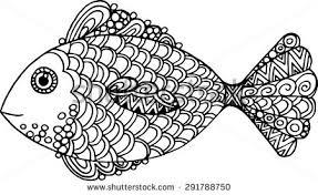 vector doodle outline fish stock vector 291788750